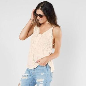 Buckle Gimmicks Beige Embroidered Lace Tank Top L